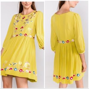 NWT French Connection Saya Crepe Embroidered Dress